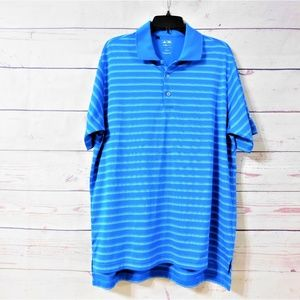 Adidas Climalite Striped Golf Polo Shirt, Size L